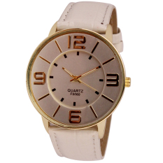 Womens Ladies Fashion Numerals Gold Dial Leather Analog Quartz Watch White