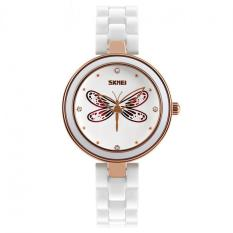 Women's White Ceramic Band Waterproof Watch Dragonfly Red