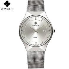 WWOOR Men's Watches Stainless Steel Calendar Quartz Analog Wrist Watch Ultra Thin Dial Fashion Dress Watches