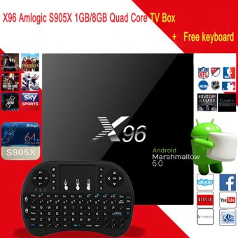 X96 Amlogic S905.1GB / 8GB Quad Core TV BOX HDMI2.0 Fully Loaded WIFI + Free Keyboard