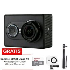 Xiaomi Yi Action Camera - 16 MP - International Edition- Hitam + Sandisk 32 GB + Monopod + Waterproof Case