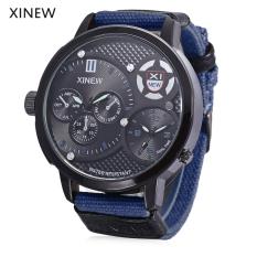 Xinew 5916 Male Dual Quartz Movt Watch Water Resistance Multiple Sub-dials Luminous Pointer Wristwatch (BLUE)