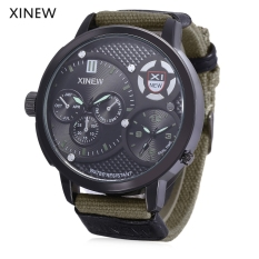 Xinew 5916 Male Dual Quartz Movt Watch Water Resistance Multiple Sub-dials Luminous Pointer Wristwatch (GREEN)