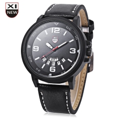 Xinew 7728 Men Quartz Watch Day Date Dispaly Big Dial Leather Strap Wristwatch (BLACK)