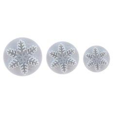 XMAS 3pcs Snowflake Fondant Cake Decorating Sugarcraft Cutter Plunger Mold Mould Snowflake