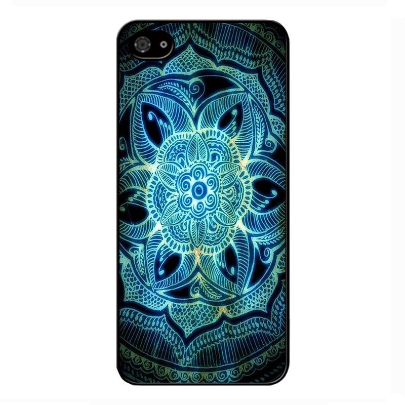 Y&M Blue Aztec Flowers Phone Case iPhone 4 4S (Multicolor)