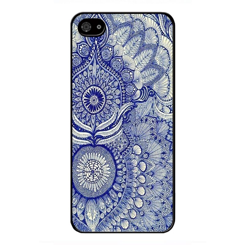 Y&M Cell Phone Case For iPhone 5/5s Blue Mandragora Floral Pattern Cover (Multicolor)