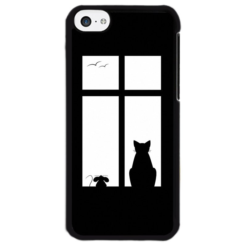 Y&M Mouse Cat In Window Phone Case for iPhone 5C Multicolor