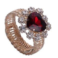 Yazilind Cute Women Red Rhinestone Gold Plated Heart-shaped With Flower Bracelet Cuff- Intl