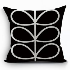 Yazilind Sample Leaves Pattern Decorative Balck Pillowcase Room Sofa Home 45*45CM / 17.55*17.55 Inch (Intl)
