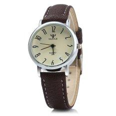 Yazole 299 Quartz Watch Women Business BROWN Leather BandWHITE (Intl)