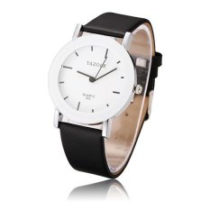 YAZOLE 303 Men Women Fashion Casual Round Dial Leather Quartz Couple Watch (Intl)