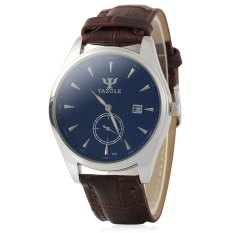 Yazole 306 Men Analog Quartz Watch Date Display Separate Second Dial BROWN (Intl)