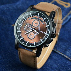 YAZOLE Men Watches Luminous Pointer Luxury Sports Military Watch PU Leather Band Analog Quartz Wristwatch Brown Dial (Brown Strap) - Intl