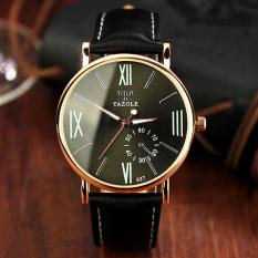 YAZOLE Quartz Watch Men Watches Wristwatch Mens Clock Fashion Quartz-watch Black Dial (Black Strap) - Intl