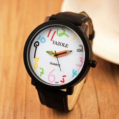 YAZOLE Unisex Business Quartz Leather Wrist Watch (White + Black) - Intl