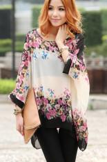 Yidabo Bohemian Style Women Oversized Dolman Sleeve Floral Chiffon Shirt Tops Blouse (Intl)