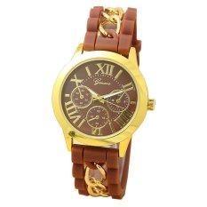 Yika Geneva Women's Chain Silicone Roman Numerals Analog Quartz Wrist Watch (Coffee) (Intl)