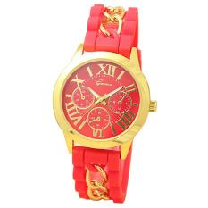 Yika Geneva Women's Chain Silicone Roman Numerals Analog Quartz Wrist Watch (Red)