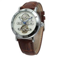 Yika Men's Automatic Mechanical Leather Sport Wrist Watch (White + Brown)