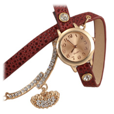 Yika New Fashion Women Casual Watch Wristwatch Synthetic Leather Multilayer Quartz Watch (Red) (Intl)
