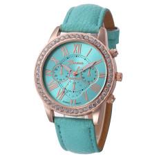 Yika Rhinestone Geneva Roman Numerals Dial Analog Quartz Wrist Watch (Sky Blue)