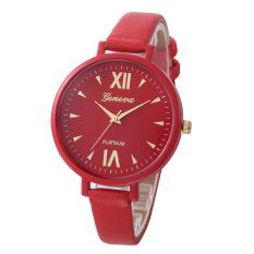 Yika Women Geneva Roman Leather Band Analog Quartz Wrist Watch (Red) (Intl)