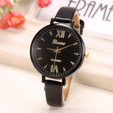 Yika Women Thin Leather Belt Quartz Analog Wrist Watch (Black)