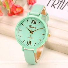 Yika Women Thin Leather Belt Quartz Analog Wrist Watch (Green)