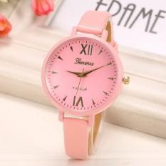 Yika Women Thin Leather Belt Quartz Analog Wrist Watch (Pink)