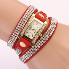 Yika Women's Vintage Square Dial Rhinestone Weave Wrap Multilayer Leather Bracelet Wrist Watch Watches (Red) (Intl)