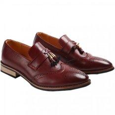 YINGLUNQISHI Men's Bullock Wingtip Leather Dress Shoes (Red) JC-005 - INTL