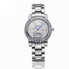Yiokmty Sousou Spot New White Diamond Imitation Watches Exquisite Gold Diamond Bracelet Watch Ms. Ceramic Table (Silver)