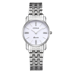 YJJZB Counter Genuine Diamond Ladies Watch Thin Strip West Teng Simple Quartz Watch Business Watch Waterproof S5061