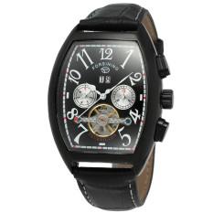 YJJZB Forsining Casual Relogio Masculino Men's Tonneau Day / Week / 24Hours Tourbillion PU Leather Watches Wristwatch Gift Box Free Ship