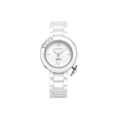 YJJZB MEGIR Authentic Ceramic Female Table Fashion Quartz Watch Student Waterproof Miss Han Ban Watches Women (Silver)