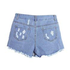 ZANZEA High Waist Ripped Hole Wash Sexy Women Girl Summer Blue Denim Jeans Shorts Pants (Intl)