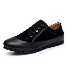 ZNPNXN Leather Men's Casual Shoes Low Cut Fashion Sneakers (Black) (Intl)