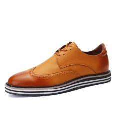 ZNPNXN Leather Men's Fromal Shoes Low Cut Shoes (Yellow) - Intl