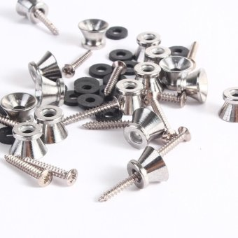 16pcs Guitar Bass End Pin Strap Buttons Locks Silver - 5