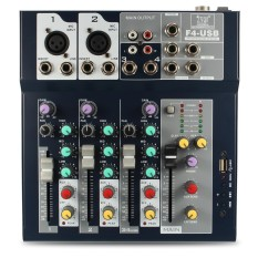 4 Channel Profesional Stage Live Mixer dengan Antarmuka USB Mixing Console Power-Intl