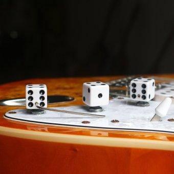 BolehDeals 3x White Black Dice Control Knob Split Shaft GibsonGrestch Fender Guitars - 2