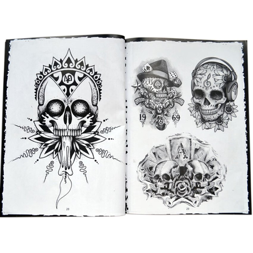Dhs 70 Pagestraditional Chinese Tattoo Manuscripts Flash Source · CTO Tattoo Book Skull Design Sketch Flash