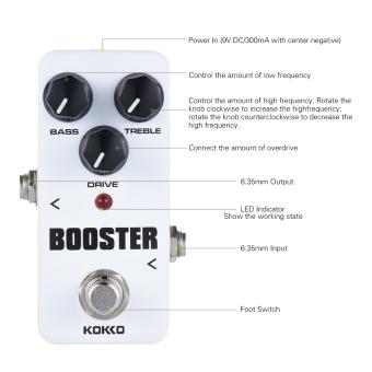 KOKKO FBS2 pendorong Pedal Mini portabel 2 band EQ Pedal efek gitar -