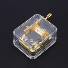 Musik Unik Kotak Acrylic Hand Crank Music Box Golden Gerakan Melodi Castle In The Sky Outdoorfree-Intl