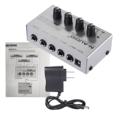 MX400 Ultra-Compact Low Noise 4 Saluran Line Mono Audio Mixer dengan Adaptor Daya ^-Intl