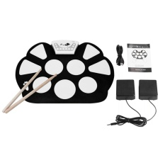 OH W758S Portable 9 Pads Digital USB Roll up Silicone Electronic Drum Pad Kit Black&White - intl