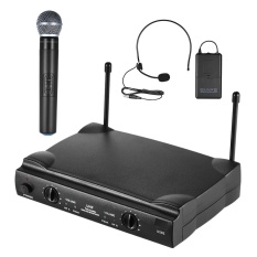UHF Dual Channels Wireless Microphone Mic System with 1 Bodypack Transmitter 1 Headset and 1 Handhel - intl