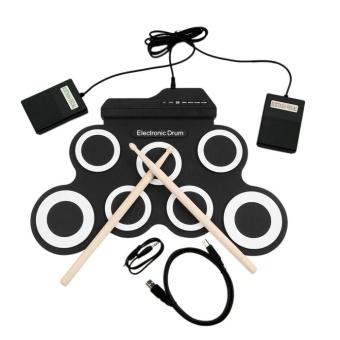 USTORE USB Electronic Drum G3002 Drum Kit Drum Set Percussion Instrument For Children Black&White - intl