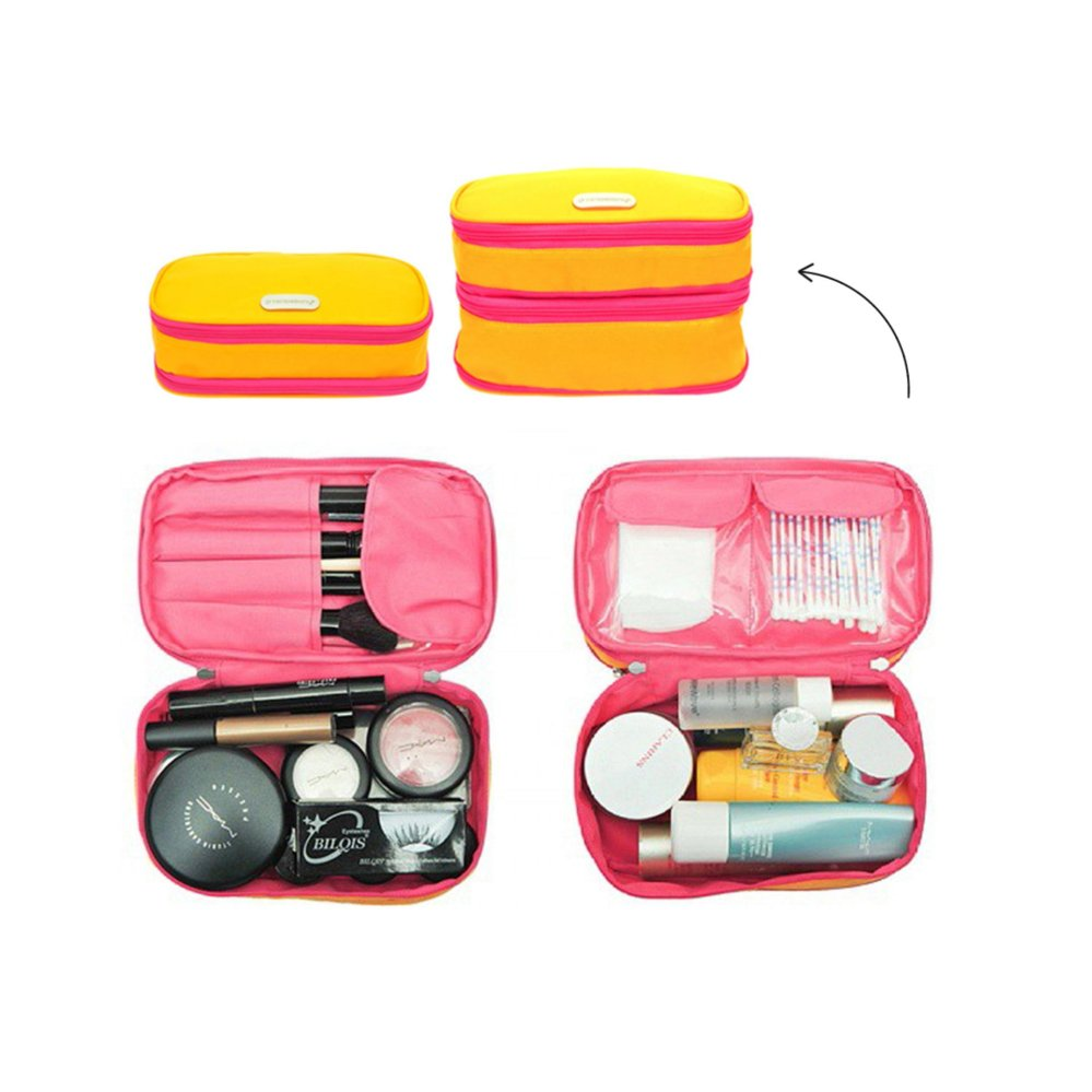 D renbellony Expandable Cosmetic Pouch Yellow magenta Dompet Kosmetik